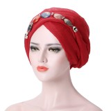 Women Lace Shawls Islamic Hijab Long Scarf Headwear Turban Cap