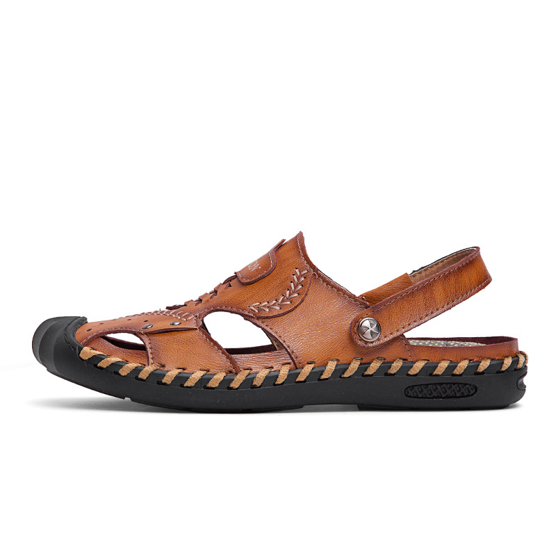 Casual Genuine Leather Hand Stitching Sandals