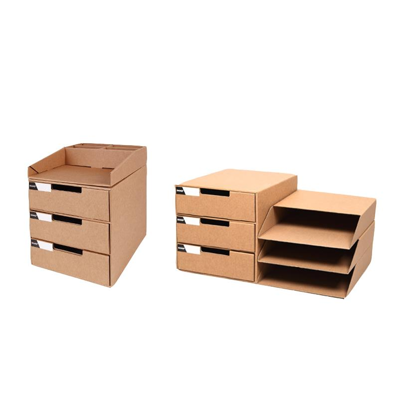 Desktop File Storage Box Brown Paper Storage Box Three Layer Container A4 Sized File Box with Top shelf Desk Organizer 3 Drawers Cardboard File Holder for Office School Files Document Storage