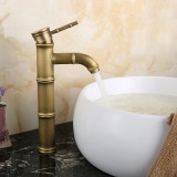 Single Handle Deck Mount Bathroom Bamboo Vessel Sink Curved Faucet Antique Copper High Spout Bath Tub Mixer Taps