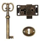 Cabinet Door Lock Set Key Antique Jewelry Makeup Case Furniture Door Drawer Lock