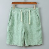 Mens Casual Elastic Waist Cotton Linen Casual Shorts Pants