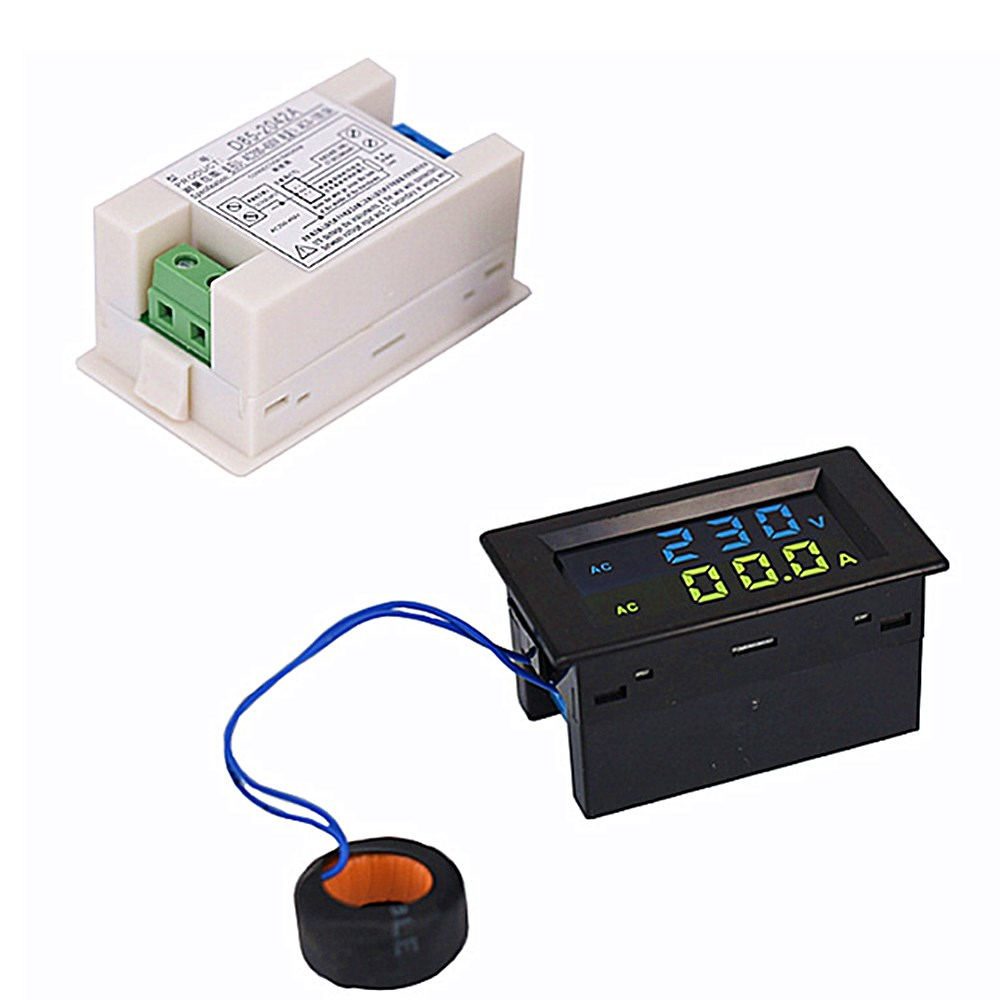 D85-2042A Double Display LCD Voltmeter Ammeter Digital Display Ac Voltage Meter Ac Current Meter AC80-500V AC0-100.0A