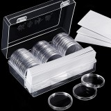 30Pcs/Lot 25mm/27mm/30mm/40mm Clear Plastic Coin Holder Capsules Cases Round Storage Ring Boxes