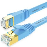 SAMZHE 1~10M CAT7 STP 10Gbps Blue Flat RJ45 Ethernet Patch Cable Networking LAN Cable