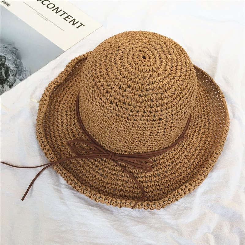 Women Foldable Sunscreen Anti-UV Bucket Straw Hat Outdoor Casual Travel Beach Sea Floppy Hat