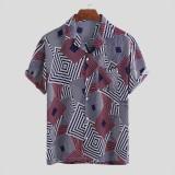 Mens Fashion Square Printing Turn Down Collar Short Sleeve Casual Shirts