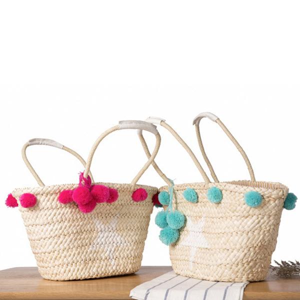 Women Woven Straw Beach Handbag Travel Plush Ball Bag Tote Bag