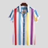 Mens Summer Big Stripe Turn Down Collar Short Sleeve Casual Shirts