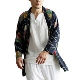 Mens Casual National Linen Kimono Cardigans Coat Streetwear Open Loose Jacket