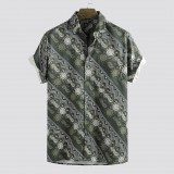 Mens Summer Digital Printed Stripe Breathable Short Sleeve Casual Shirts