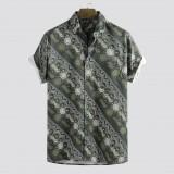 Mens Summer Digital Printed Stripe Breathable Short Sleeve Casual Shirts
