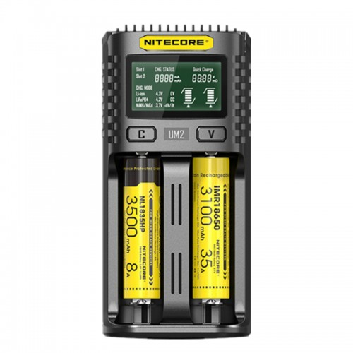 NITECORE UM2 LCD Screen Display 5V/2A Lithium Battery Charger 2-Slots Smart Rapid Charger For NITECORE 18650 Battery