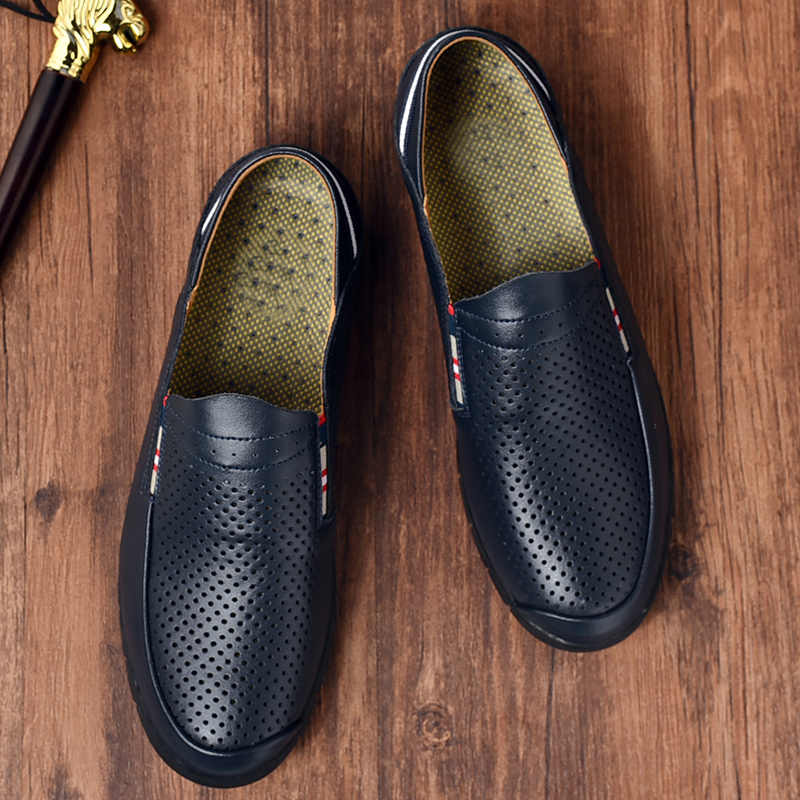 Men Breathable Hollow Casual Soft Soles Cowhide Walking Loafers