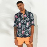 ChArmkpR Men Tropical Plants Printed Hawaiian Casual Shirts