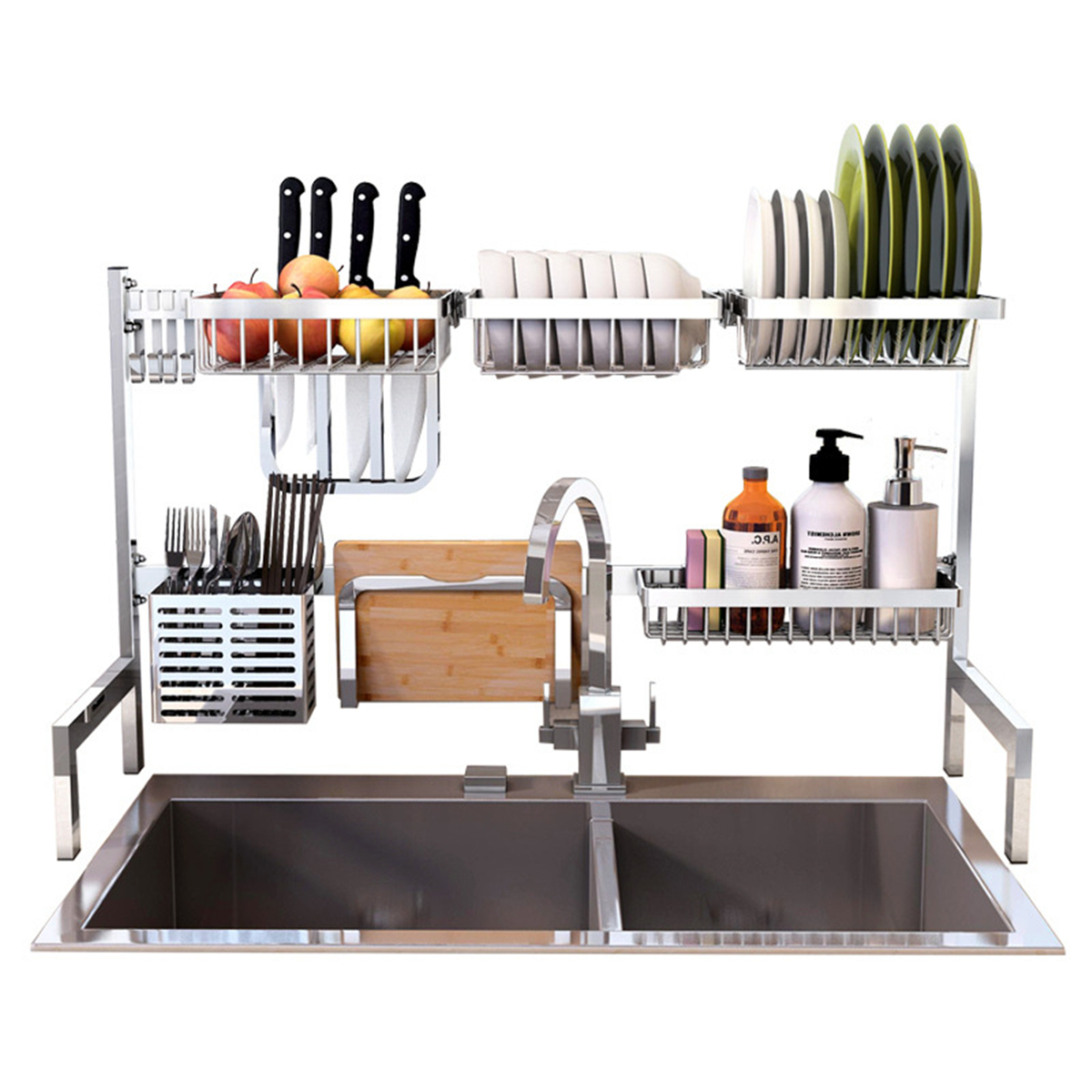 Stainless Steel Kitchen Shelf Rack Drying Drain Storage Holders Plate Dish Rack Kitchen Storage Rack