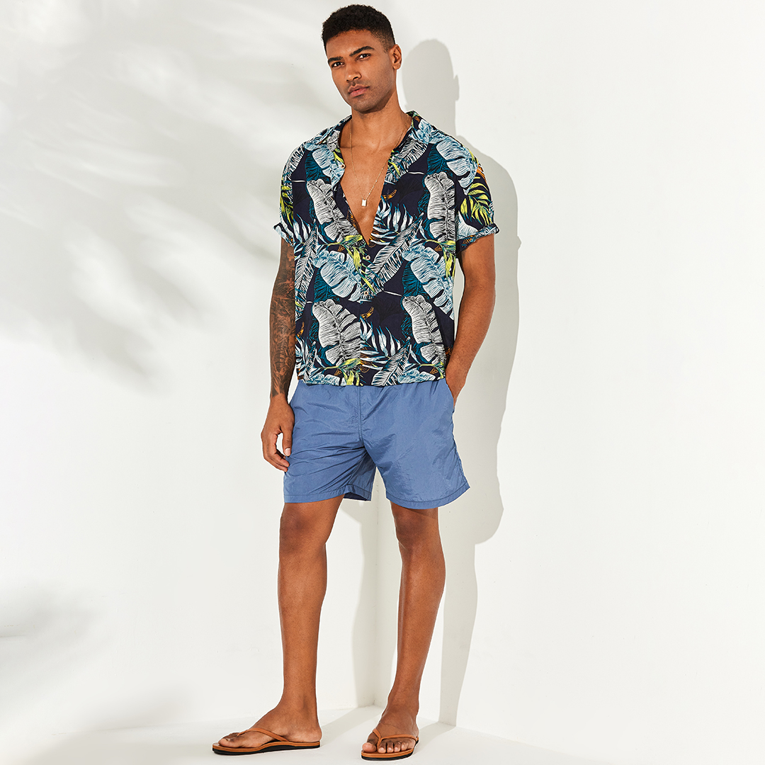 Men Hawaiian Plants Printed Holiday Beachwear Breathable Short Sleeve Shirts