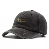 Men Women Outdoor Vintage Letter Embroidery Baseball Cap Washed Cotton Peaked Cap