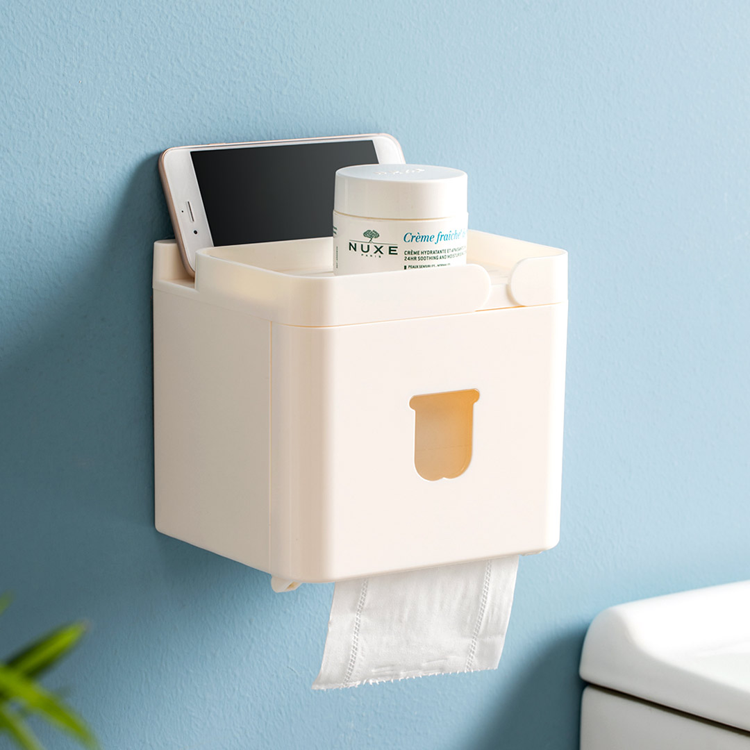 Tissue Boxen Toilet Paper Roll Cover Holder Wall Mounted Storage Box Organizer