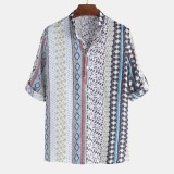 Mens Vintage Ethnic Style Printing Half Sleeve Loose Casual T Shirts