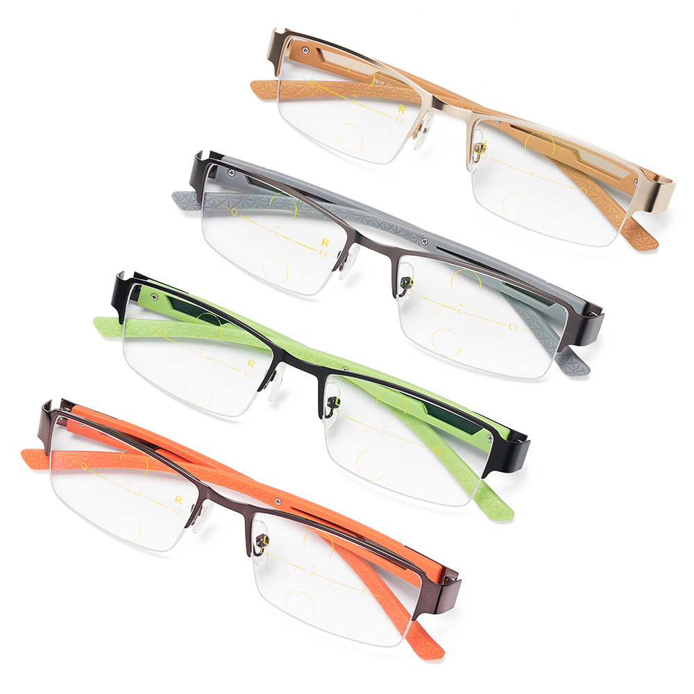 Men Metal Anti-fatigue Progressive Color Change Multi-focus Far And Near Use Reading Glasses
