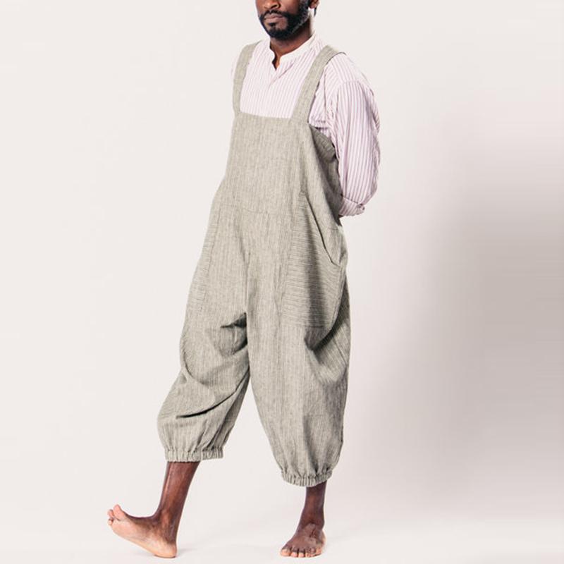 INCERUN Mens Striped Printing Multi Big Pocket Drawstring Loose Overalls Baggy Pants Rompers