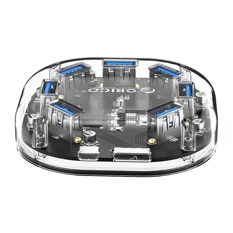 Orico H7U Transparent 7-Port USB 3.0 Hub with Micro USB Power Port