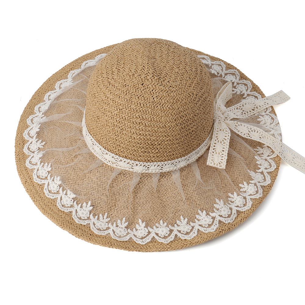 Women Foldable Lace Bow Sunscreen Bucket Straw Hat Outdoor Casual Travel Beach Sea Floppy Hat