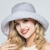 Women Adjustable Cotton And Linen Rolling Floppy Hat Sunshade Sun Screen Seaside Hat Anti-UV Bucket Hat