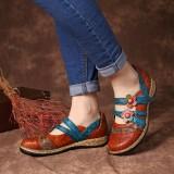 SOCOFY Hook Loop Genuine Leather Pattern Flat Sandals