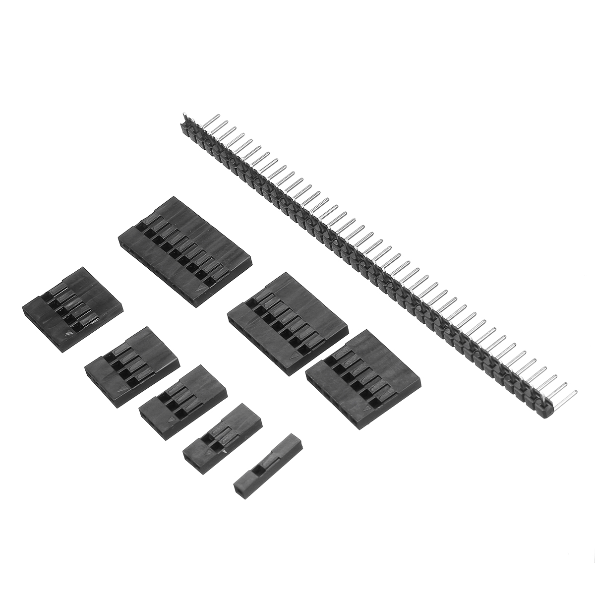635Pcs Dupont Connector Housing Male/Female Pin Connector 40 Pin 2.54mm Pitch Pin Headers and 10 Wire Rainbow Color Flat Ribbon IDC Wire Cable Assortment Kit