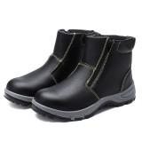 lens Men's Safety Steel Toe Non-Slip Zipper Boots Waterproof Outdoor Welding Work Shoes