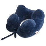 IPRee Inflatable U Shape Cotton Neck Pillow Headrest Cushion Travel Airplane Sleep Rest