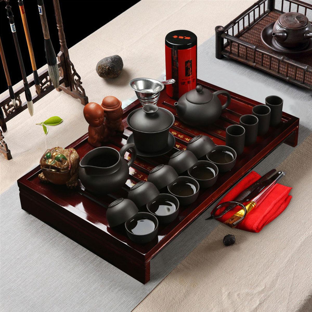 Chinese Kung Fu Tea Making Tools Tea Set Porcelain Teapot Pot Cup Elegant Kettle Wood Holder Tray