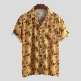 Mens Summer Vacation Casual Loose Floral Printing Hawaiian Shirts
