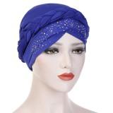 Women Vintage Ethnic Style Breathable Side Flower Headband Cap Turban Cap