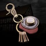 Retro Punk Hat Car Keychain Leather Pendant Keychain Bronze Metal Keychain