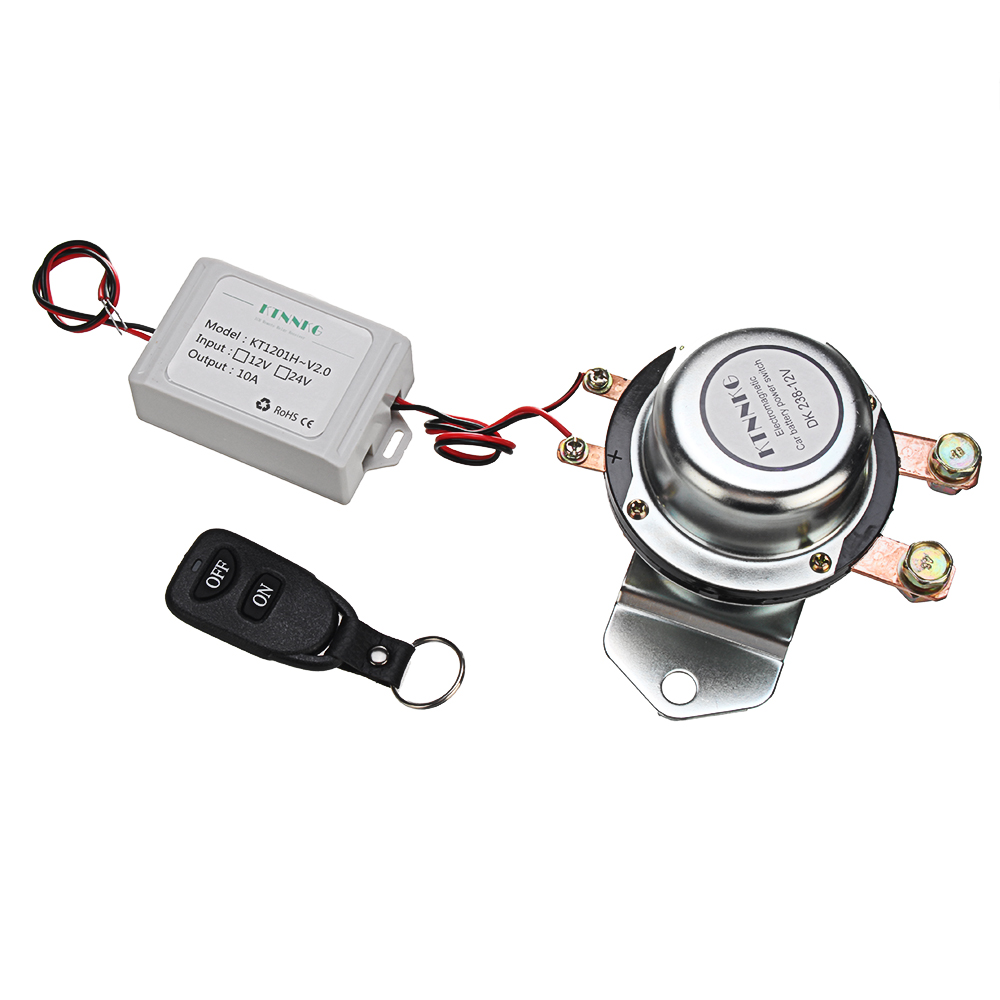 KTNNKG Upgraded 180A Car Battery Switch Wireless Remote Control Disconnect  Latching Relay Electromagnetic Solenoid Valve Terminal Master