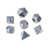7Pcs Double Color Polyhedral Metal Game Dices Kit Children Digital Education Number Dices Entertianment Game Props For DnD TPRG