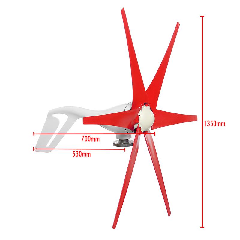 800W Wind Turbine 6 Blades Red DC 12V/24V Wind Turbine Generator High Wind Power