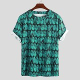 Mens Summer Graffiti Printed Loose Fit Short Sleeve Casual T-Shirts