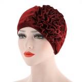 Women Ethnic Style Flexible Breathable Side Flower Headband Cap Vintage Turban Cap