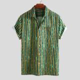 Mens Holiday Batik Stripe Vintage Chest Pocket Short Sleeve Fashion Shirts