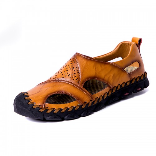 Men Casual Breathable Hollow Out Hand Stitching Sandals