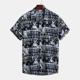 Mens Summer Ethnic Printed Short Sleeve Hawaiian Casual Shirts