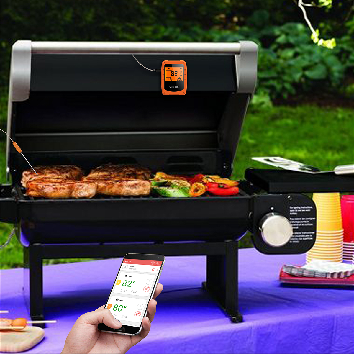 Bluethooth Wireless Food Meat BBQ Grill Smoker Thermometer  with 6 Probes
