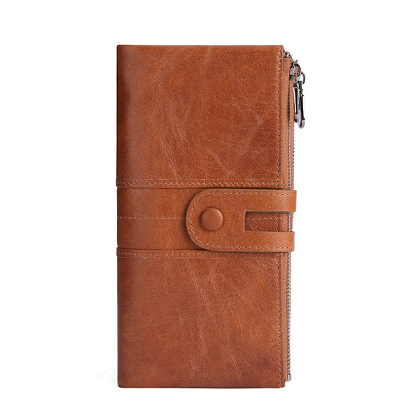 Men Genuine Leather RFID Antimagnetic Long Phone Wallet Card Holder Phone Bag