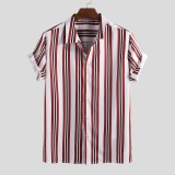 Mens Classic Striped Summer Short Sleeve Loose Comfy Shirts