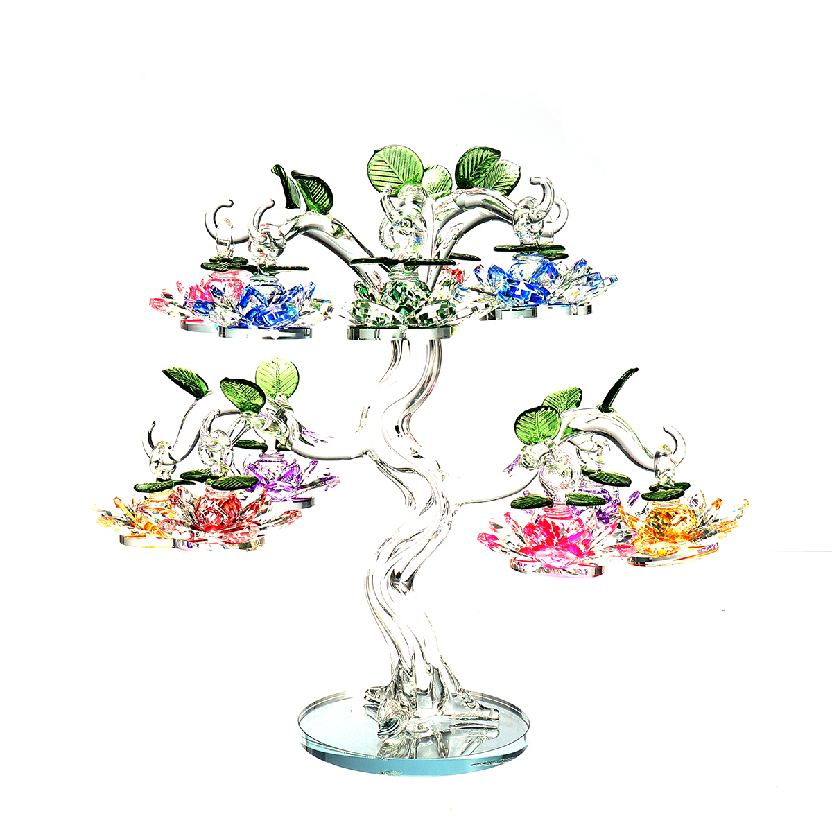 Transparent Chirstmas Tree Hanging Ornaments 60mm Crystal Glass Lotus Miniature Figurine Home Decorations