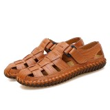 Men Handmade Stitching Casual Soft Genuine Leather Sandals
